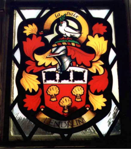 Lendrum Family Arms, painted glass panel.