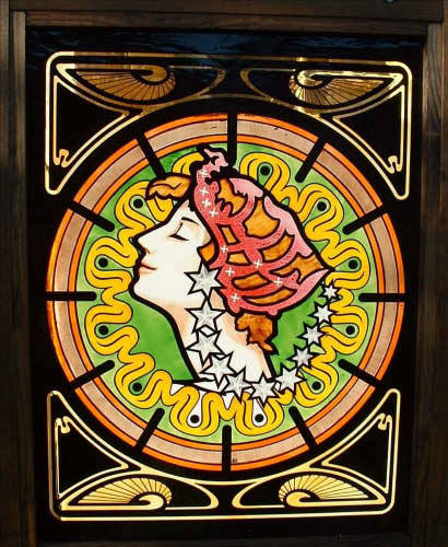 Painted glass panel in the Art Nouveau style.